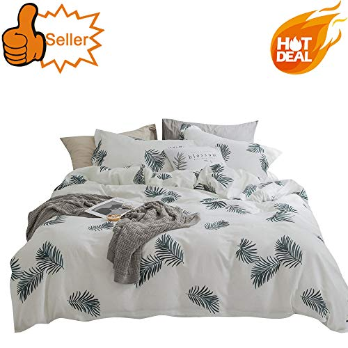 OTOB Kids Cartoon Leaf Duvet Cover Sets Cotton for Girls Boys Green White,Home Textile Teen Bedding Sets Gifts Full with 4 Ties,Children Bed Sets,Bed Collections Set Domitory,Graden Print, Queen/Full