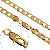 8mm Width 20 Inch 18k Gold Tone 316L Stainless Steel Flat Figaro Cuban Curb Link Chain Men's Necklace