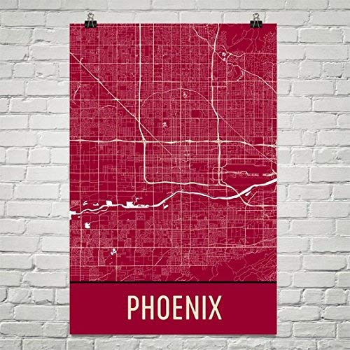 Modern Map Art Phoenix Poster, Phoenix Art Print, Phoenix Wall Art, Phoenix Map, Phoenix City Map, Phoenix Arizona City Map Art,Phoenix Gift,Phoenix Decor, ...