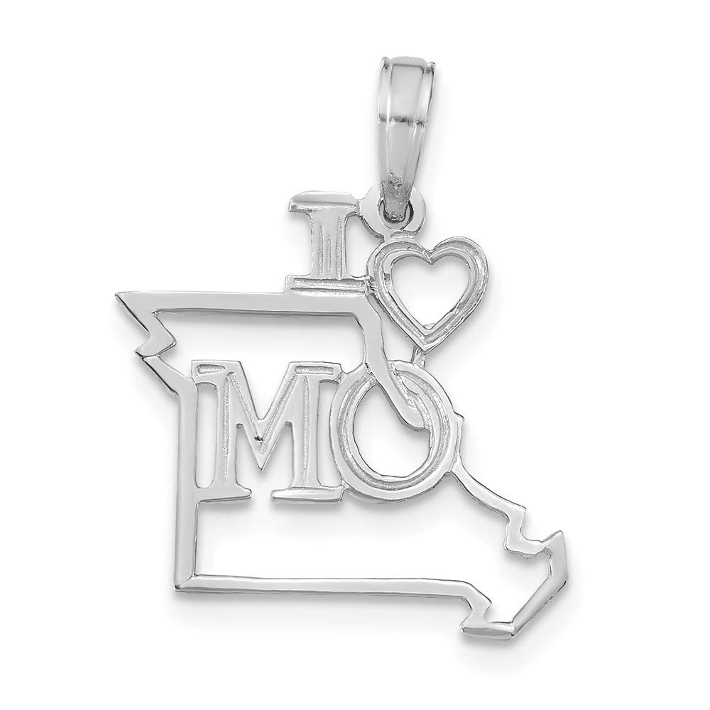 14K White Gold Solid Missouri State Small Charm Pendant by Million Charms