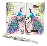 Pink & Purple Peacock Design Wallet Leather Case for LG Optimus L90 with Kickstand