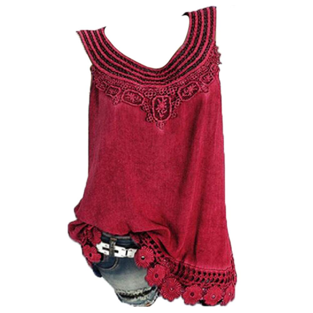 iYBUIA Women O-Neck Sleeveless Pure Color Lace Plus Size Vest Loose T-Shirt Blouse with Hollow Hem Red