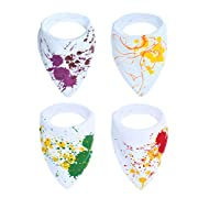 Baby Bandana Drool Bibs,Beechtree Baby 4 Pack Soft and Absorbent,Hypoallergenic,100% Natural Cotton Bibs Set with Snaps for Drooling and Teething,Unisex Baby Shower Gift Set for Boys and Girls