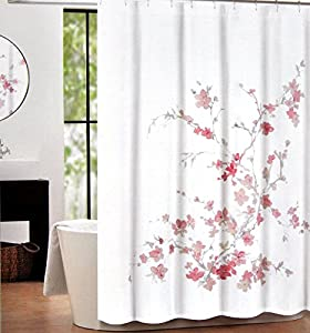 tahari home printemps salmon pink and grey floral branch fabric shower curtain. Black Bedroom Furniture Sets. Home Design Ideas