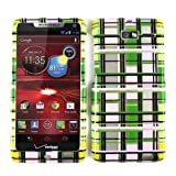 Cell Armor Motorola Droid Razr M 4G Let Deluxe Snap On Case - Retail Packaging - Transparent Design Green/Pink/Yellow Blocks