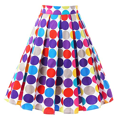 T-Crossworld Women's 50s Vintage A Line Pleated Midi Polka Dots Skirt with Pockets High Waist Small