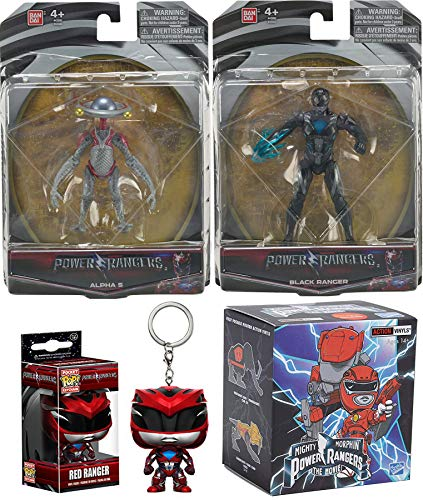 Power Rangers Robot Black Movie Action Saban's Action Figures + Pocket Pop! Red Kecyhain & Exclusive Loyal Vinyls Blind Box Character Figure 4-Pack Black Hero with Power Sword & Alpha 5 Assistant ()