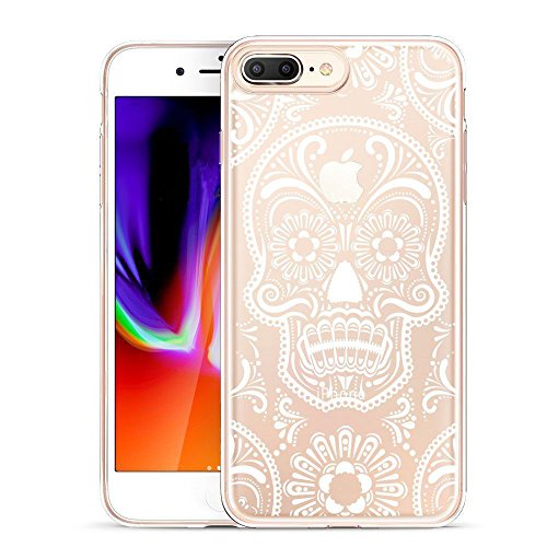iPhone 8 Plus Case, Unov iPhone 7 Plus Case Clear with Design Embossed Pattern TPU Soft Bumper Shock Absorption Slim Protective Cover for iPhone 7 Plus iPhone 8 Plus 5.5 Inch(Skull Mandala)
