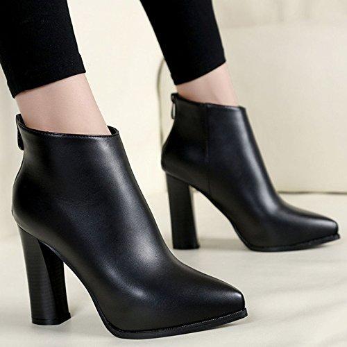 KHSKX-Herbst Und Winter Frauen Neue Schwere Schuhe Stiefel High Heels Martin Stiefel Wasserdichte Plattform Einzelne Schuhe Sagte Wildleder Stiefel black