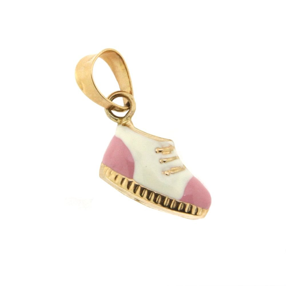 18K Yellow Gold Pink and White Enamel Booty Charm