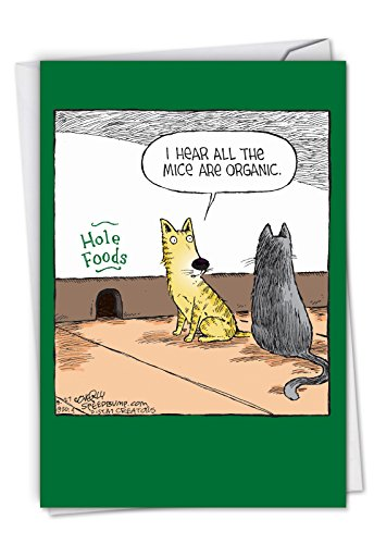Hole Foods: Humorous Birthday Card Featuring A Pair of Funny Kitties Eating Healthy, with Envelope. C2684BDG ()