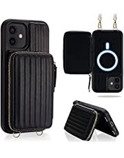 JLFCH iPhone 12 Pro Max Wallet Case with Crossbody Chain Wrist Strap Card Holder Zipper Purse Compatible with Apple iPhone 12 Pro Max 6.7 inch - Black