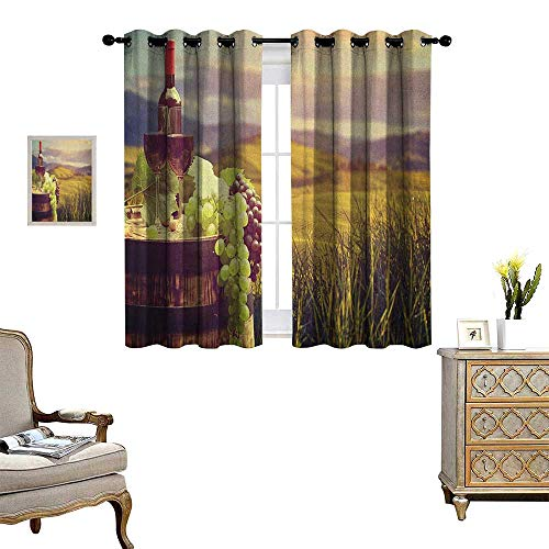 Warm Family Wine Window Curtain Fabric Italy Tuscany Landscape Rural Vineyard Autumn Harvest Grapes Drink Viticulture Drapes for Living Room W63 x L72 Green Black Brown