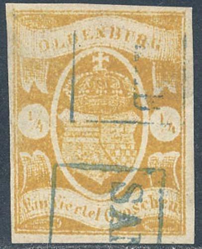 Goldhahn Oldenburg Nr. 9 gestempelt mit Fotoattest - Briefmarken für Sammler