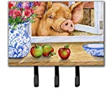 Caroline's Treasures CDCO0352TH68 Pig Trying To Reach The Apple In The Window Leash Or Key Holder, Triple, Multicolor