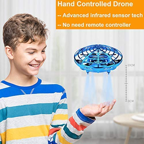 BOMPOW Flying Toys Drones for Kids Mini Drones Hand Controlled Flying Ball Drone Toys with 2 Speed and LED Light for Kids, Boys and Girls Toys (Blue) -