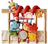 Myhouse Colourful Baby Plush Hanging Toys Baby Spiral Activity Hanging Toys Stroller Toy