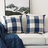 HOME BRILLIANT Retro Checkered Plaids Throw Pillow Covers Decorative Farmhouse Cushion Cover, 2 Pack, 18 x 18 inch, Navy Blue