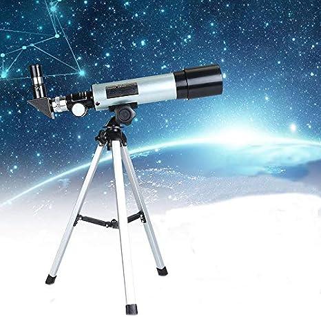 TZUTOGETHER Telescopio para ni/ños Principiantes con tr/ípode liviano con 2 oculares de Aumento y Lente de Aumento de 1.5X telescopio Refractor astron/ómico,Reflector de Ciencia educativa