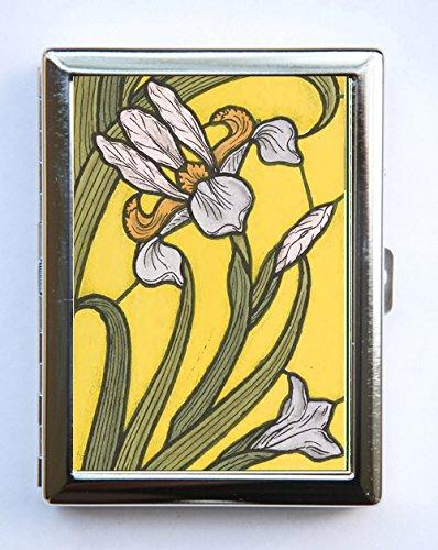 Art Nouveau Iris Floral Pattern Yellow Cigarette Case id case Wallet Business Card Holder