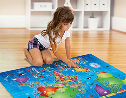 Kids Interactive Talking World Map Touch Activated Geography for Kids, Push-to-Talk Map Learn Over 1000 Facts and Quizzes About 92 Countries World Map Puzzle Game, Fun & Educational by Learn & Climb (Image #3)