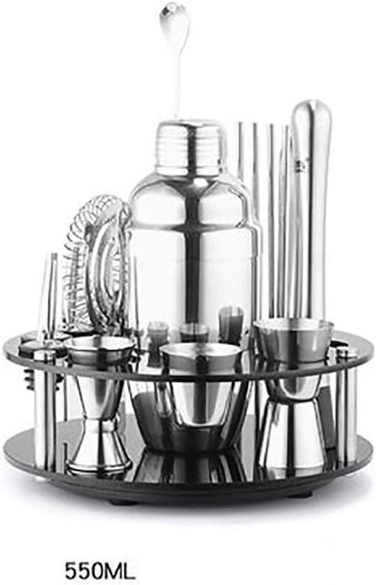 カクテルセット ロータリースタンド付きシェーカーシェーカーセットカクテルシェーカーツール和風シェーカー (色 : 銀, サイズ : 550ML)