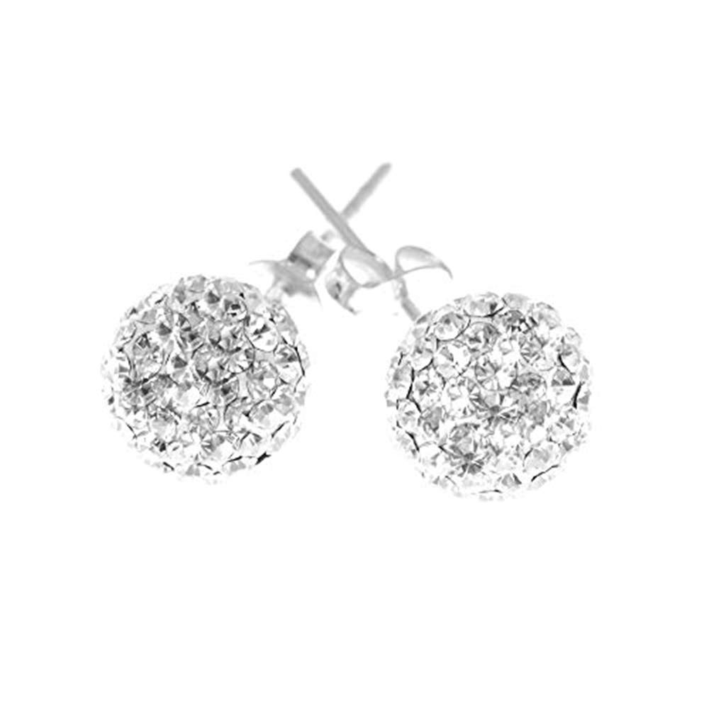 d47c94e1c Sterling Silver 925 8mm, Diamond Chip Effect, AAA Crystal Ball Stud Earrings.  Top Quality. Boxed.: Amazon.co.uk: Jewellery