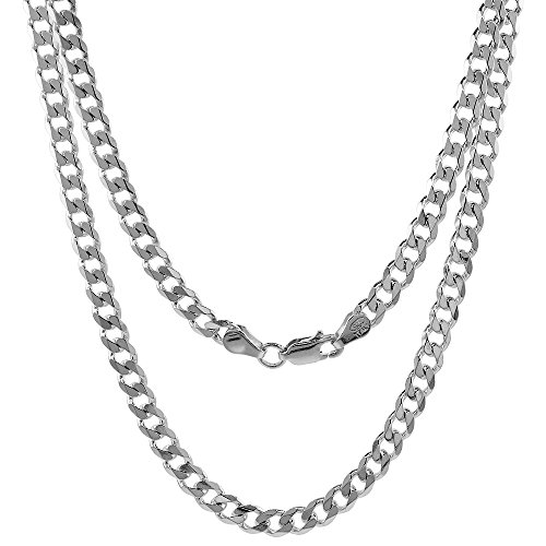 NYC Sterling 4.5MM Rhodium Sterling Silver .925 Curb Link Chain Necklace, Made in Italy (20 Inches)