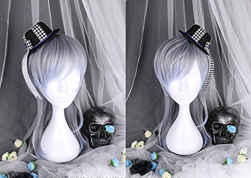 38cm Mens Blue Grey Gradient Harajuku Wig Boys Fashion Daily Wear Hair for Cosplay Party Masquerade (Grey Character Wig)