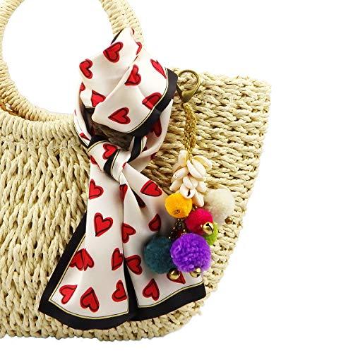 RareLove Bohemian Shell Pom Pom Keychain and Multi Heart Dot Satin Hair Silk Feeling Scarf for Straw Beach Bag