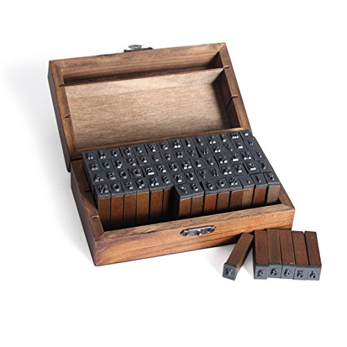 70pcs Multipurpose Number Alphabet Letter Wood Rubber Stamp Letter Wood Rubber Stamps Set with Vintage Wooden Box for Teaching and Play ()