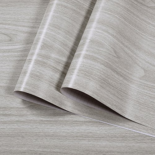 Faux Gray Wood Grain Contact Paper Vinyl Self Adhesive Shelf Drawer Liner for Kitchen Cabinets ,Shelves,Bathroom Wall Decal 17.7x197 Inches