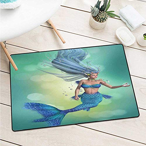 Wang Hai Chuan Mermaid Decor Inlet Outdoor Door mat Mermaid Upper Body of a Woman and The Tail of a Fish for Swimming Catch dust Snow and mud W19.7 x L31.5 Inch (Bunch Of Female Dogs And Garden Tools)
