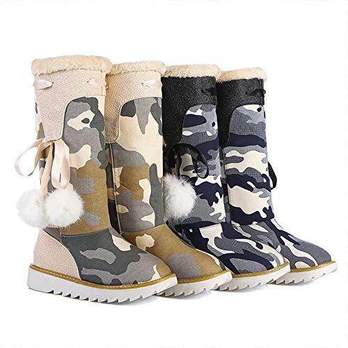 De Cálido Algodón Fondo 32 Botas Tubo Mujer Grueso 43 Prueba Zapatos botas Nieve Agua Negro Además Xdx Plano a Terciopelo Ow56SBqq1