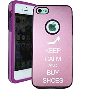 SudysAccessories Keep Calm And Buy Shoes iPhone 5 Case iPhone 5G Case - MetalTouch Pink Aluminium Shell With Silicone Inner Protective Designer Case
