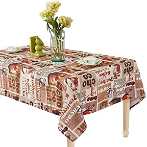 YEMYHOM Modern Printed Spill Proof Cloth Rectangle Tablecloth (60 x 104, Coffee Beans)