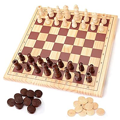 KAJA Wooden Classic Chess and Checkers Board Game Large Travel Educational Chess and Draughts Set for Adults Toddlers Kids