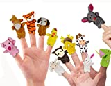Image of RIY Storytime Animal Finger Puppets Set - 12 Piece Zoo Friends Educational Toys Cloth Puppets