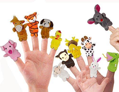 RIY 12Pcs Story Time Finger Puppets - Zoo Theme Animals Educational (Tiger Eye Horse)