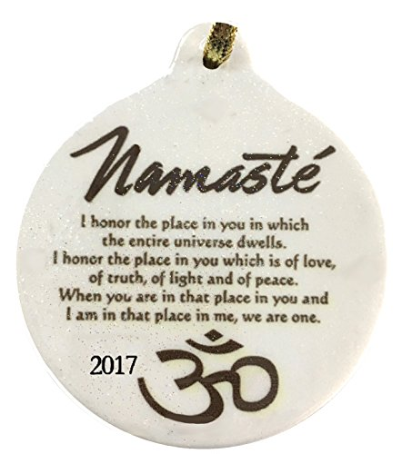 2017 Dated Namaste Yoga Golden Blessing Porcelain Ornament