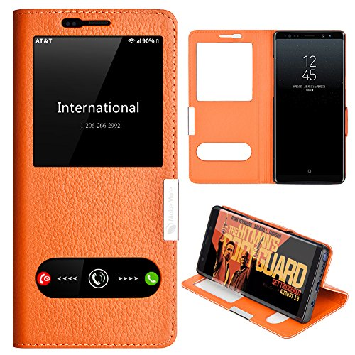 Samsung Galaxy Note 8 Case, Genuine Leather Ultra Thin Shockproof Samsung Galaxy Note 8 Cover Flip Case Window View Stand Feature Magnet Closure Phone Case for Samsung Galaxy Note 8 (Orange)