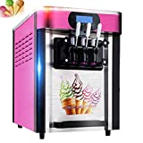 Commercial Ice Cream Machine, Soft Ice Cream Making Yogurt Cone Digital Display Machine with 3 Flavors Desktop Small Automatic Drum 2000W Without Refrigerant (220 V)