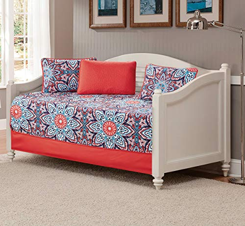 Fancy Linen 5pc Daybed Set Bed Cover with Flowers Pink/Red Light Pink Turquoise Navy Blue White New