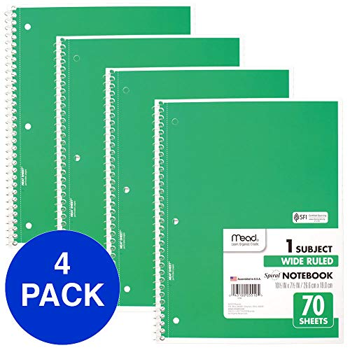 (Mead Spiral Notebooks, 1 Subject, Wide Ruled Paper, 70 Sheets, 10-1/2