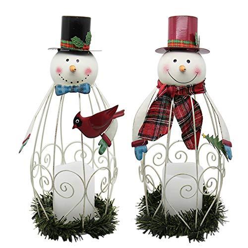 Juegoal 2 Pack Snowman LED Candle Lantern Metal Christmas