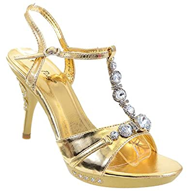 Amazon.com | Chunky Jeweled Bling Crystals Heels Formal