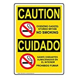 Use this OSHA-format CAUTION sign to send a clear safety message: OXIDIZING GAS(ES) STORED WITHIN NO SMOKING - GASES OXIDANTES ALMACENADOS EN EL INTERIOR PROHIBIDO FUMAR. This sign is manufactured with rounded corners and 4 mounting holes for...
