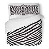 SanChic Duvet Cover Set Abstract Zebra Black and White Colors Africa African Animal Camouflage Decorative Bedding Set with 2 Pillow Shams Full/Queen Size