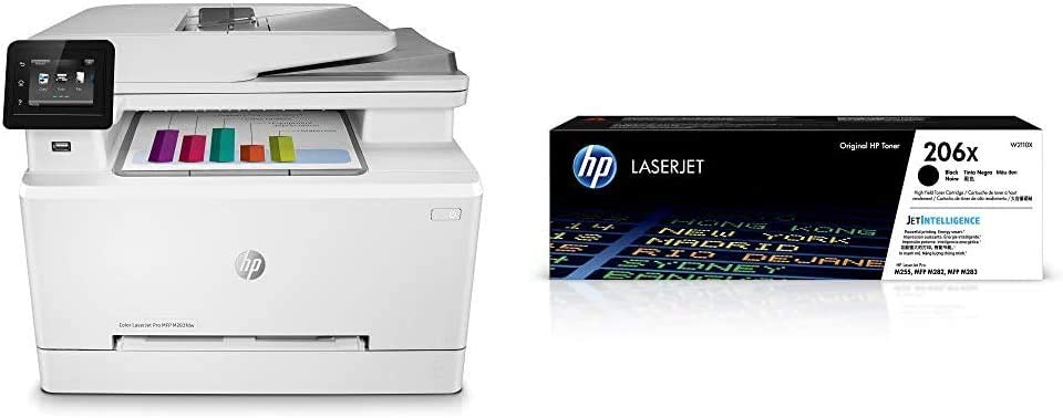 HP Color Laserjet Pro M283fdw Wireless All-in-One Laser Printer, Remote Mobile Print, Scan & Copy, Duplex Printing (7KW75A) with XL Black-Toner-Cartridges