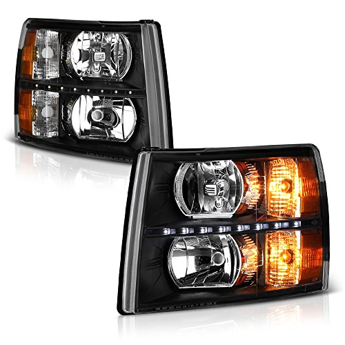 VIPMOTOZ Black Housing LED Strip DRL OE-Style Headlight Headlamp Assembly For 2007-2013 Chevy Silverado 1500 2500HD 3500HD Pickup Truck, Driver & Passenger ()